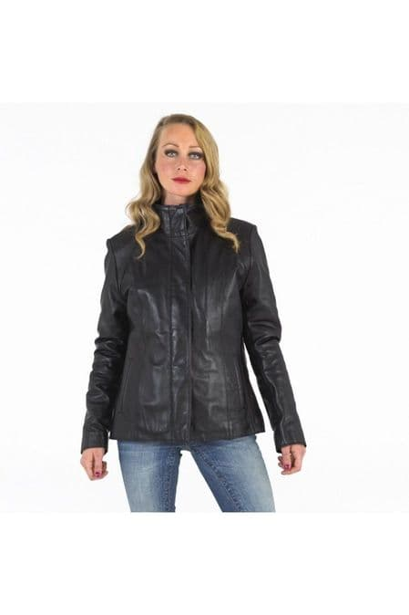 Women's Casual Leather Jacket Black